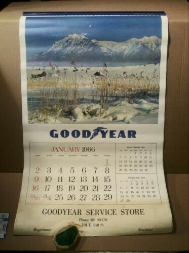Vintage 1966 GOODYEAR Service Store Wall Calendar - Hagerstown Maryland