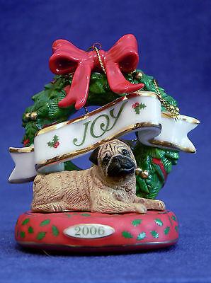 """Danbury Mint Porcelain Pug Ornament """"Pug Delight"""" 2006"""