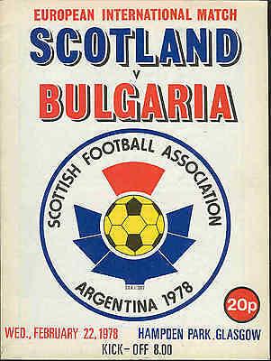Scotland v Bulgaria 1978 - Football Programme