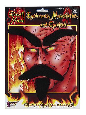 Devil Set Fake Black Moustache Eyebrows & Goatee Combo Lucifer Self Adhesive](Moustache Goatee Combo)