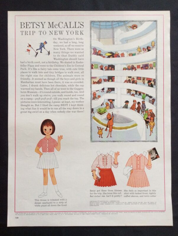 Vintage Betsy McCall Mag. Paper Doll, Betsy McCall's Trip to New York, Feb. 1963