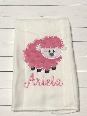 Pink Lamb Burp Cloth for Baby Girls Personalized