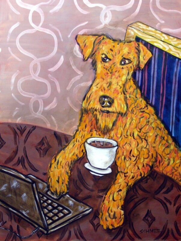 irish terrier at the cafe coffee shop  dog art print 8x10 gifts