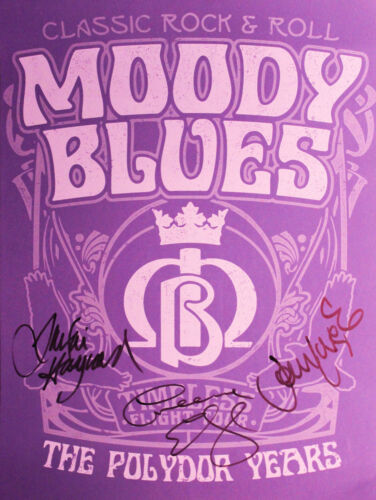 The Moody Blues hand signed 18x24 Screen Print Poster, Justin, Jon and Graeme.