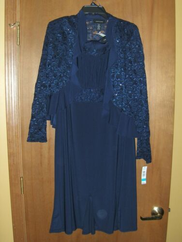 R & M Richards Navy Mother of the Bride Groom Evening Dress & Jacket NWT 16