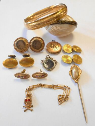 10pc Victorian Gold Fill Diamond Spinel DendriticOpal Memento Mori Skull Jewelry