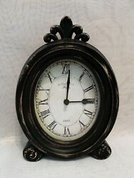 Shabby Chic Distressed Black Wood Paris 1885 Oval Tabletop Clock Vintage Style