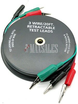 3 Wire 20 Retractable Test Leads 18 Gauge Alligator Clips In Reel