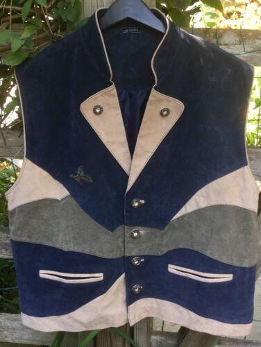 Oktoberfest Men's Bavarian Vest Waistcoat Suede / Made in Germany size 46 US