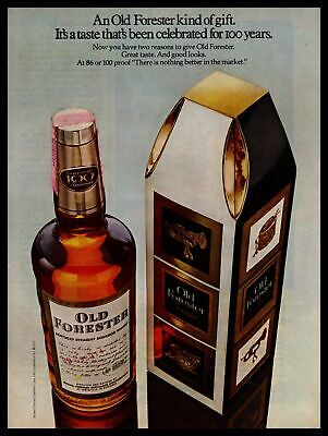 1970 Old Forester Kentucky Bourbon Whiskey Christmas Gift Box Vintage Print Ad