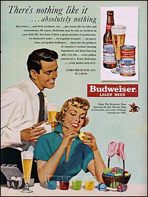 1950 Woman painting Easter eggs Budweiser Beer bottle vintage art print ad L27