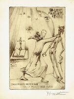 Alberto Martini, Ex Libris Mansueto Fenini, Macabro, Puntasecca Orig, Firmata - martini - ebay.it