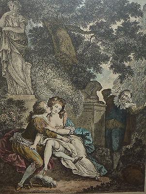 Barockzeit Liebespaar im Park französischer Stich Weiblicher Akt Erotik Barock