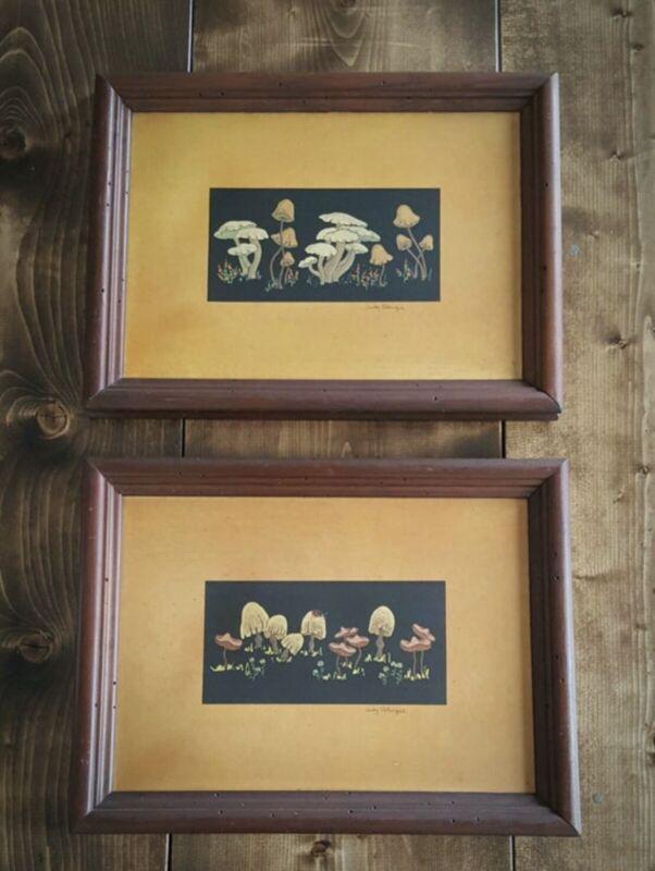 Vintage Mushroom Wood Framed Print Pair Judy Petacque Wall Art Prints 1960s