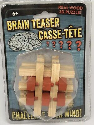BRAIN TEASER CASSE-TETE Real Wood 3-D PUZZLE NEW SEALED PACKAGE Free Shipping ()