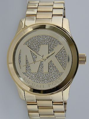 Michael Kors Women's MK5706 Runway Gold Tone With Mk Logo With Crystal Dial 45mm