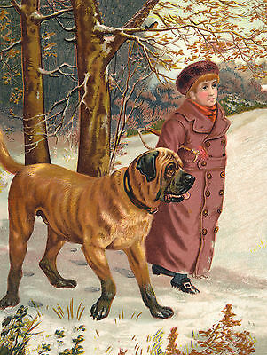 MASTIFF BOY WALKS DOG IN THE SNOW CHARMING GREETINGS NOTE CARD