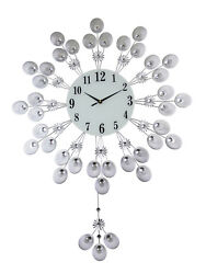 Elegant Silver Peacock Pendulum Wall Clock with Crystal Accents