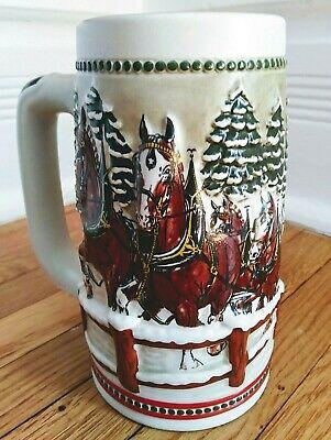 Budweiser Limited Edition Holiday Stein Ceramarte Christmas Beer Mug
