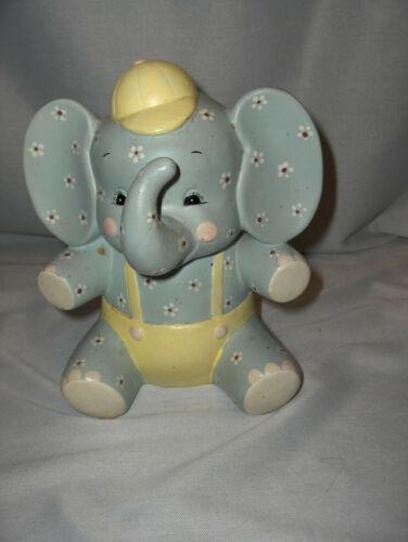 Vintage  Light Blue & Yellow Ceramic Elephant Bank  Seal NICE