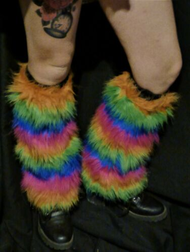 Rainbow Furry Leg Warmers -  One Size - Fluffies party dance 4 tone