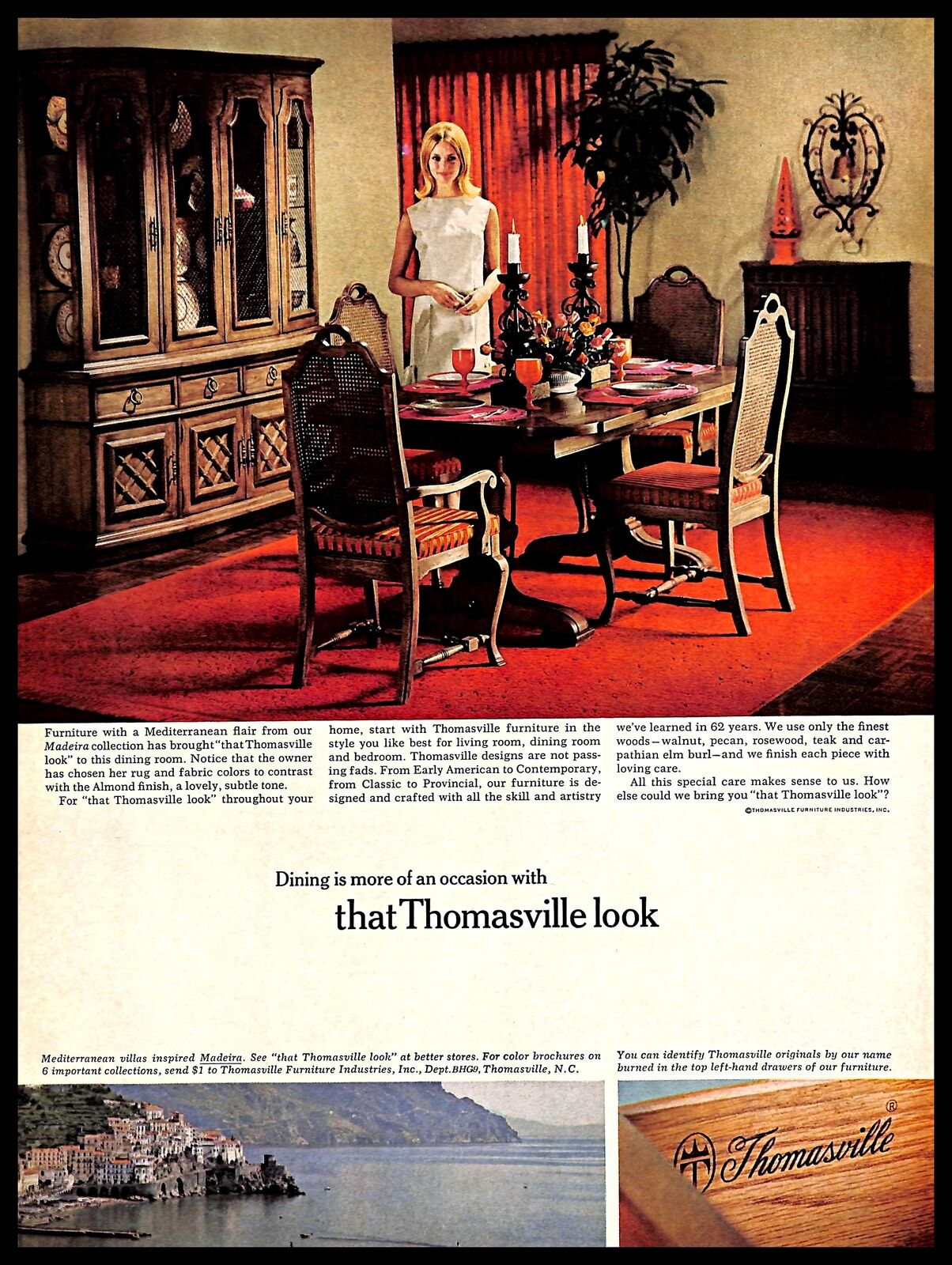 Details About 1966 Thomasville Furniture Vintage Print Ad Mediterranean Style Wood Dining Room
