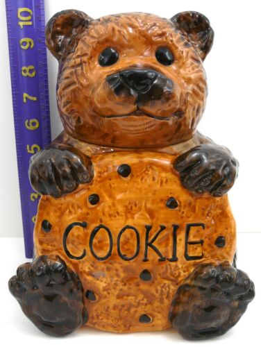 CKAO Bear Cookie Jar CKRO Brown Teddy Holding Chocolate Chip Hand Painted VTG