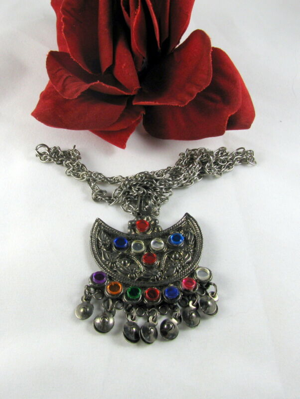 Vintage Colorful Accents Silver tone Ornate   Necklace CAT RESCUE