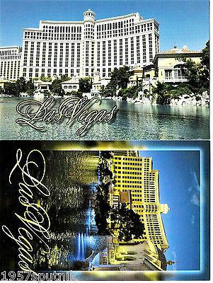 2 Bellagio Las Vegas Strip Hotel Casino front facade lake VIEW postcard s NEW m