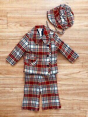 Designer Vintage Toddler Boy's 3 Piece Suit Lord & Taylor Red Plaid 1970's 4T Boys Designer Suit