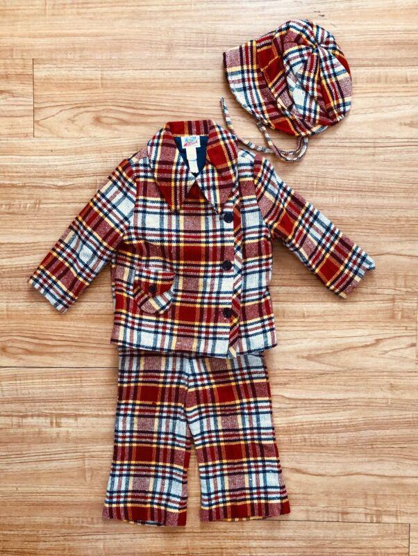 Designer Vintage Toddler Boy's 3 Piece Suit Lord & Taylor Red Plaid 1970's 4T