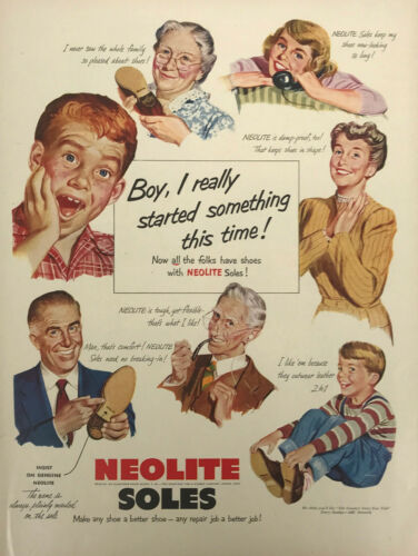Neolite Soles Shoes Magazine Print Ad Vintage Fashion Kids Family Illustration