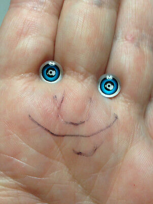 M00709 MOREZMORE Glass Eyes Iris 6mm BLUE with Glare Spot Flat Back Doll IZB