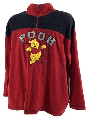 Disney Winnie The Pooh 1/4 Zip Pullover Womens 2XL Fleece Red/Blk Appliquéd Logo