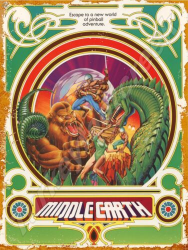 "ATARI MIDDLE EARTH PINBALL 9"" x 12"" METAL SIGN"