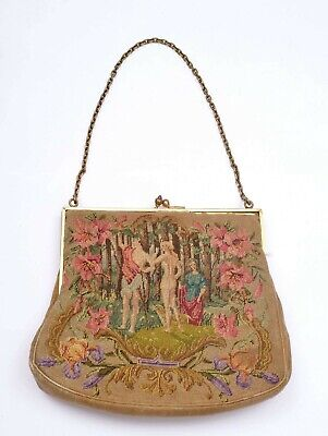 1930s Handbags and Purses Fashion 1930's French Needlepoint Embroidery Tapestry Lady Purse Handbag Victorian Style $150.00 AT vintagedancer.com
