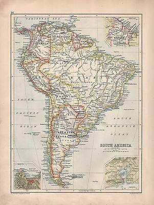 1901 VICTORIAN MAP ~ SOUTH AMERICA ARGENTINA CHILE RIO VALPARAISO BRAZIL PERU