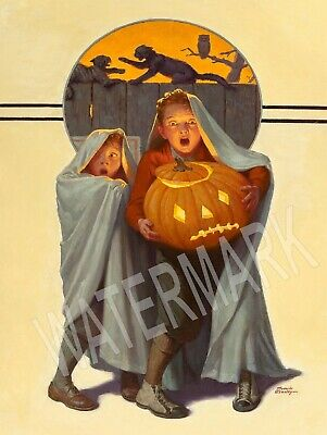 1935 Saturday Evening Post Halloween High Quality Metal Magnet 3 x 4 inches 9230 - Saturday Halloween