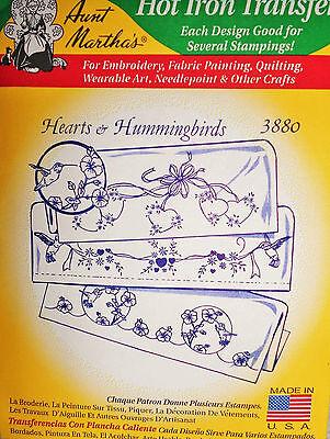 """Aunt Martha's Hot Iron On Transfer # 3880 """" Hearts & Hummingbirds """""""