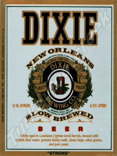 """DIXIE NEW ORLEANS STRONG BEER LABEL 9"""" x 12"""" SIGN"""