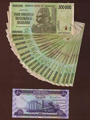 20 x 500,000 Zimbabwe Dollars Banknotes + 1 x 50 Iraq Dinar Note Iraqi Dinars