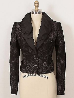 NWT $4K Louis Vuitton Black Lace-Pleated Back-Cocktail Evening Jacket 36 2/4