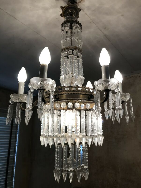 Antique French Empire Victorian Crystal Chandelier Brass Wedding Cake 26""