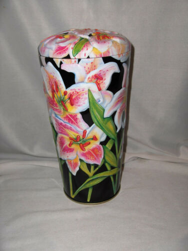 Vintage MetalWare Pasta Spaghetti Canister Cannister Stargazer Lilies Lid NICE