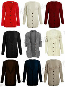 WOMENS SIZE 8 10 12 14 16 18 CABLE KNIT BOYFRIEND CARDIGAN SWEATER TOP CARDIGANS