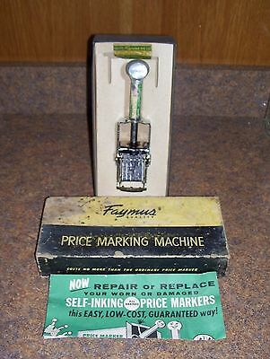 Vintage Faymus Brand King Size Long Handle Price Marker Machine In Original Box