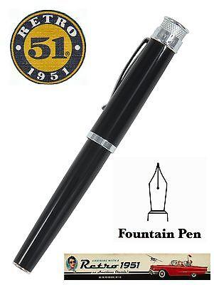 Retro 51 Acrylic Black Tornado Fountain Pen #ARF-1841-F / Fine Point NIB