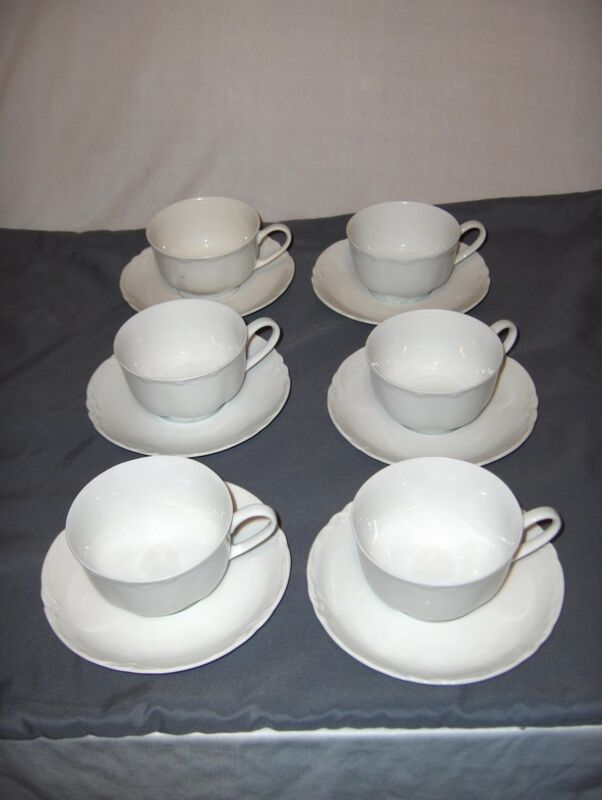Vintage Hutschenreuther Selb Germany Racine White 6 Cups & Saucers NICE