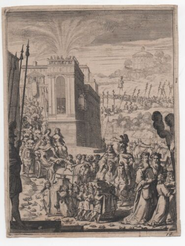 Original 18th century Engraving of large Procession from City