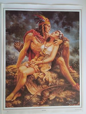 Traditional Mexican Calendar Art Jesus Helguera Aztec warrior with girl